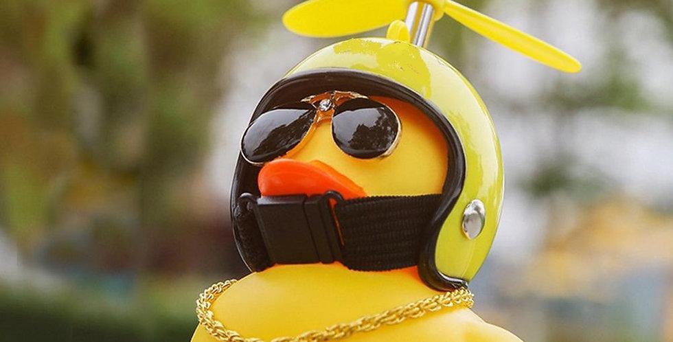 Car Duck With Helmet Broken Wind  Yellow Duck Road Bike Motor Helmet Riding