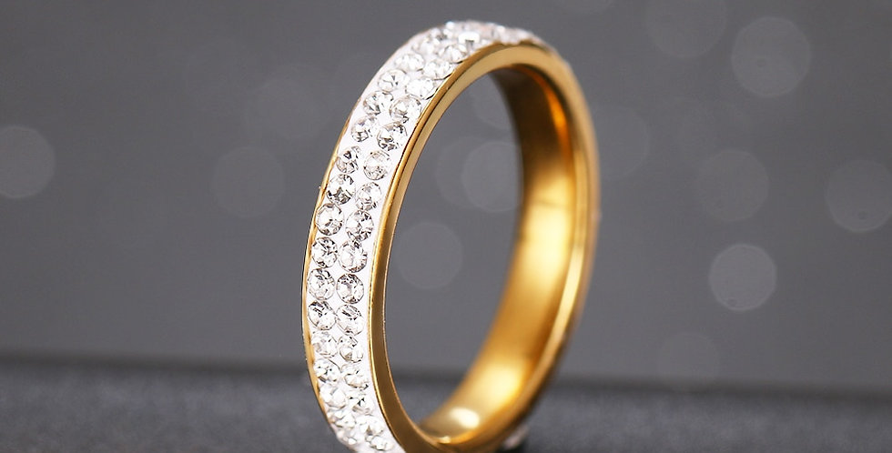 CACANA 2 Row Lines Clear Crystal Wedding Rings for Women