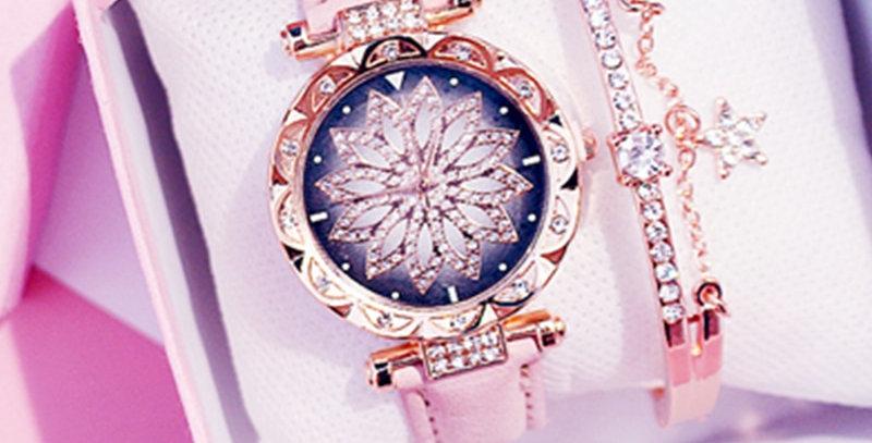 -2021-Women Starry Sky Watch Luxury Rose Gold Diamond Watches