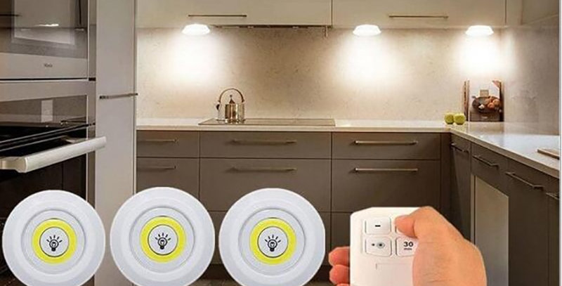 3W Super Cob Under Cabinet Light LED Wireless Remote Control Dimmable Lamp Home