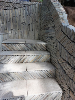 Close up view of slate and granite steps
