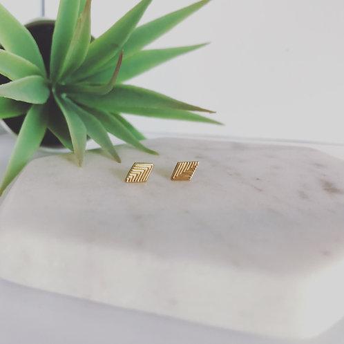 Diamond Geometric Earring Studs