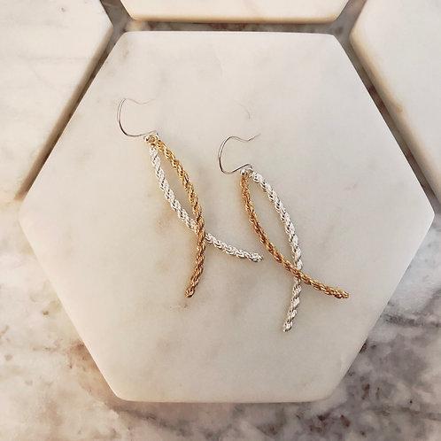 Chain Arc Double Earrings