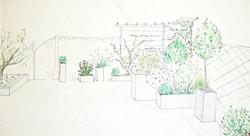 Vue terrasse :pots, jeux de hauteurs