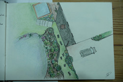 plan d'ambiance, jardin avec piscine