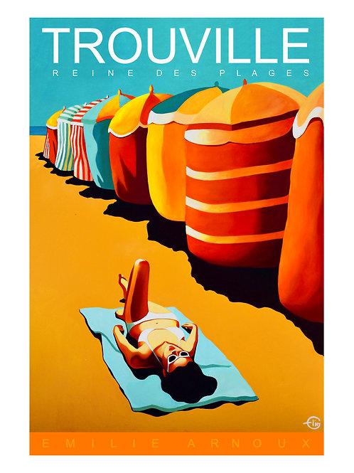 "TROUVILLE dedicated art print ""Parasols"" 20/27 inch"