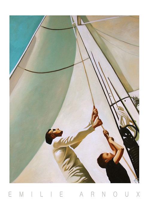 """Affiche signée """"Boating"""" 50/70 cm"""