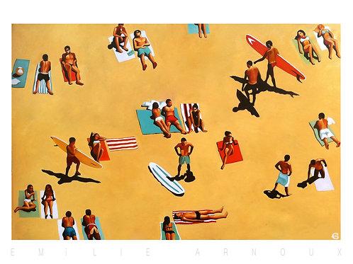 """Affiche signée """"La plage"""" 50/70 cm"""