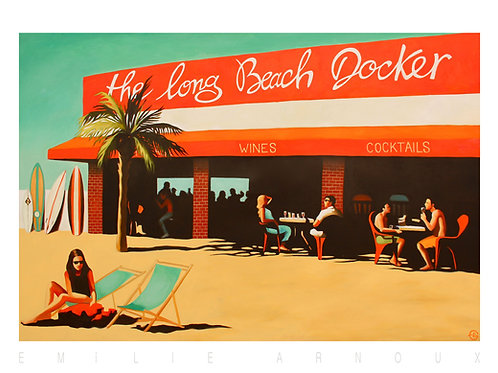"Affiche signée ""The long beach docker"" 50/70 cm"