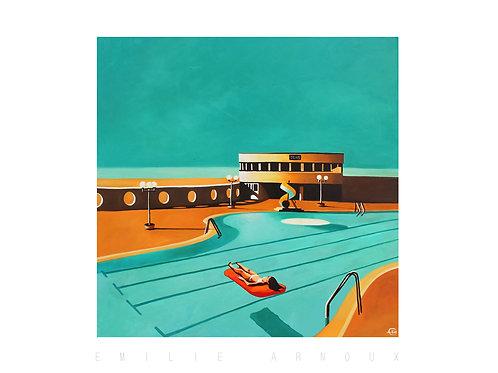 "Dedicated Art Print "" La piscine de Trouville, 5h45"" 20/27 inch"