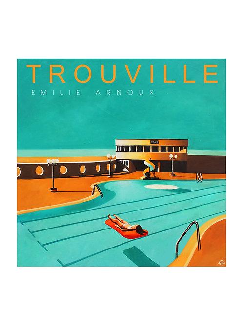 """Affiche de TROUVILLE """"Piscine"""" signée ou dédicacée sur demande 50/70 cm"""