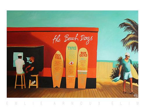 "Affiche signée ""The Beach Dogs""50/70 cm"
