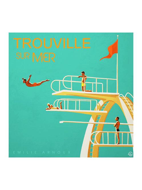 """Affiche de TROUVILLE """"Plongeoir"""" signée ou dédicacée sur demande 50/70 cm"""