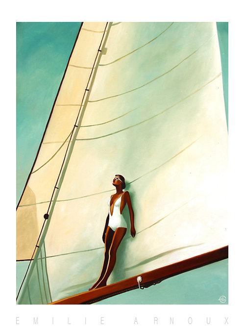 """Affiche signée """"Big white sail"""" 50/70 cm"""