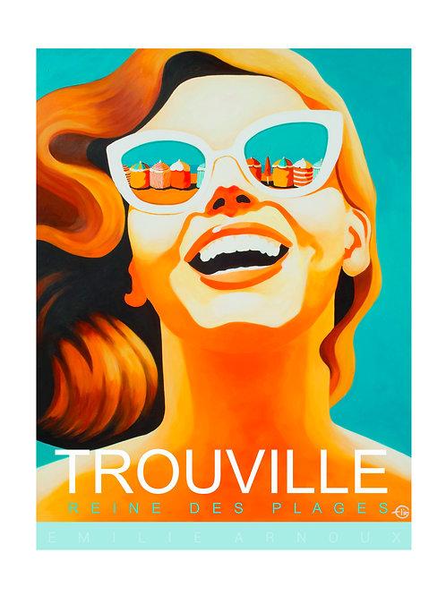 """Affiche de TROUVILLE """"Reine des plages"""" signée ou dédicacée sur demande 50/70 cm"""