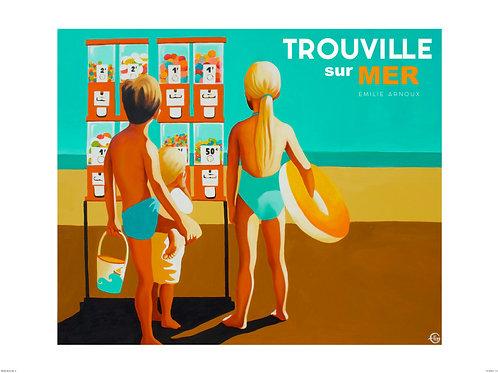 """Affiche de TROUVILLE """"Les planches"""" signée ou dédicacée sur demande    50/70 cm"""