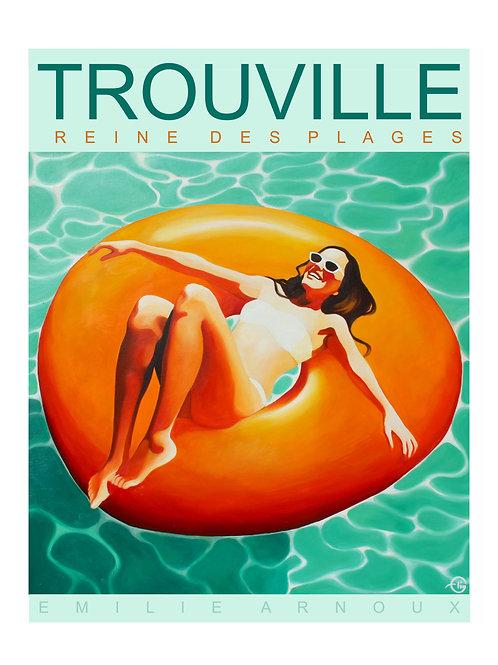 """Affiche de TROUVILLE """"la bouée"""" signée ou dédicacée sur demande    50/70 cm"""