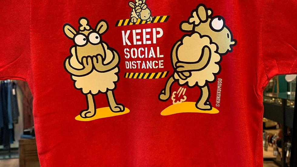 Tee shirt Social Distance Rouge mixte enfant