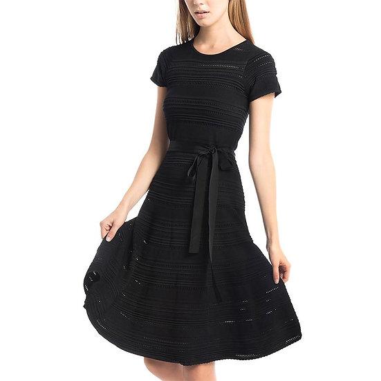 Midnight Crochet Belted Dress