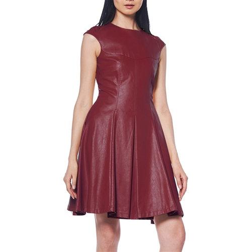 Merlot Vegan Leather Pleated Dress