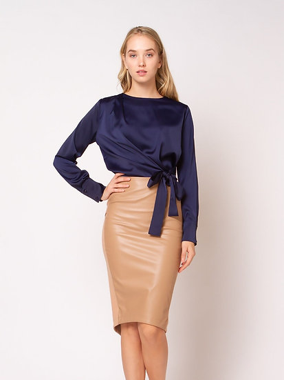 Faux Leather Asymmetrical Midi