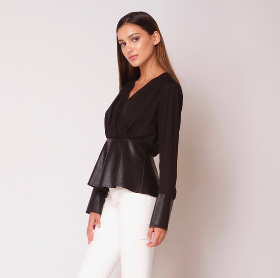 Cross My Heart Faux Leather Peplum Top