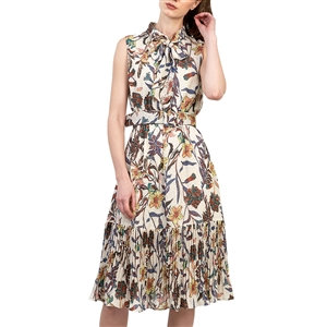 Multi-Colored Floral Belted Dress