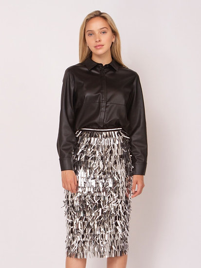 Disco Ball Metallic Fringe Skirt