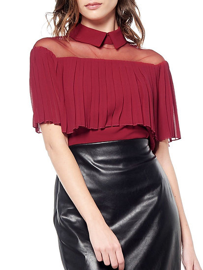 Wine n' Dine See-Thru Ruffle Top