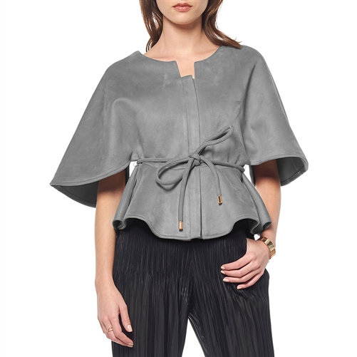 Grey Faux Suede Zip-Up/Tie-Around Peplum