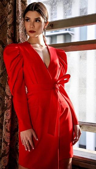 Cherry Pop Puff Sleeve Wrap Dress