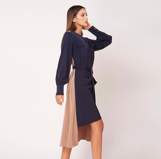 Two Faced Navy + Sand Button Dress