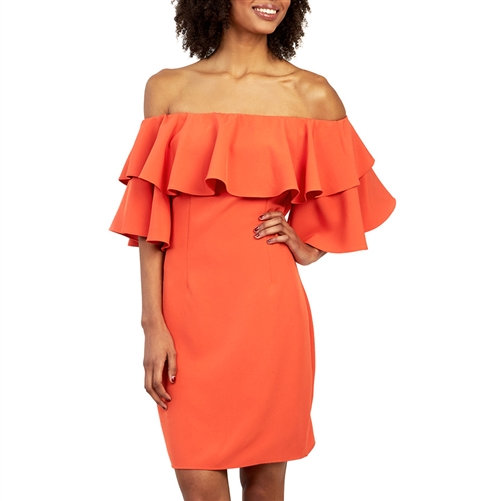 Coral Off-Shoulder Ruffle Dress