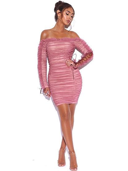 Rose Darling Ruched Mini Dress