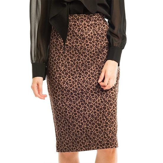 Night Leopard Midi Skirt