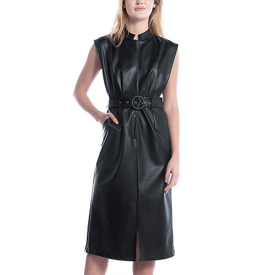Side Show Retro Faux Leather Midi