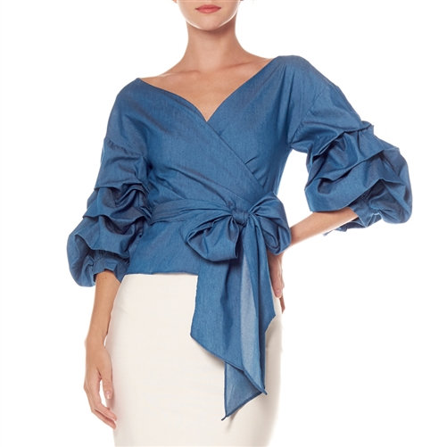 Denim Ruffle Wrap Around