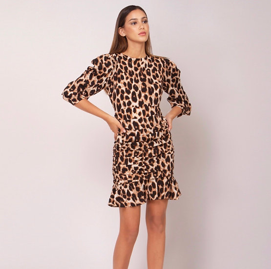 Leopard Lady Ruching Dress