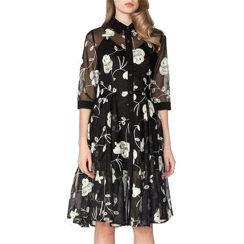 "B&W Floral Mesh ""Audrey Hepburn"" Dress"