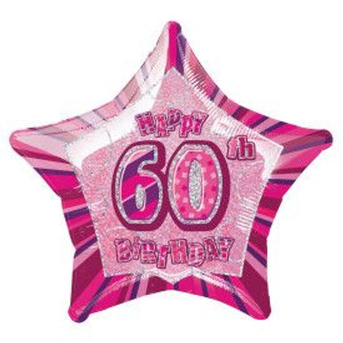 "Balloon Foil 18"" Happy Birthday 60 Pink"