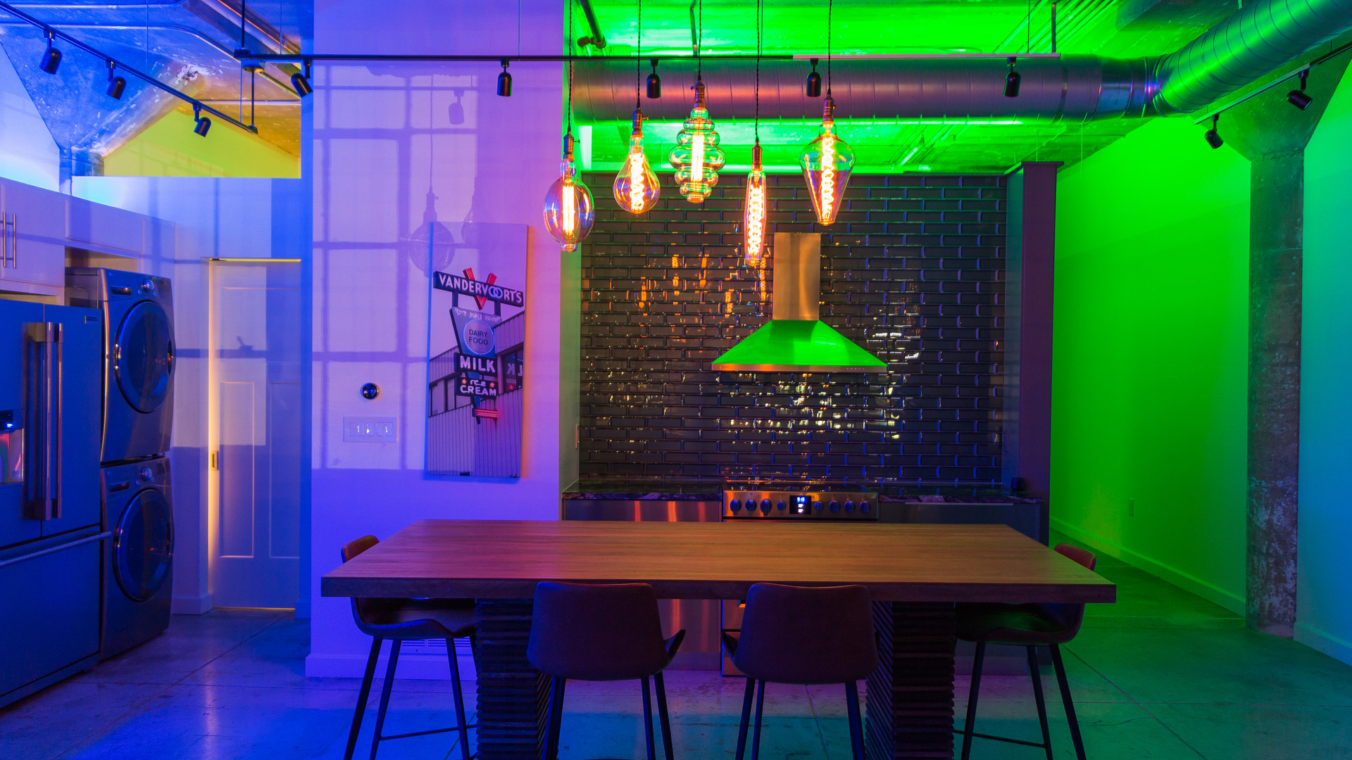 Fun, custom lighting means the space can change for any mood
