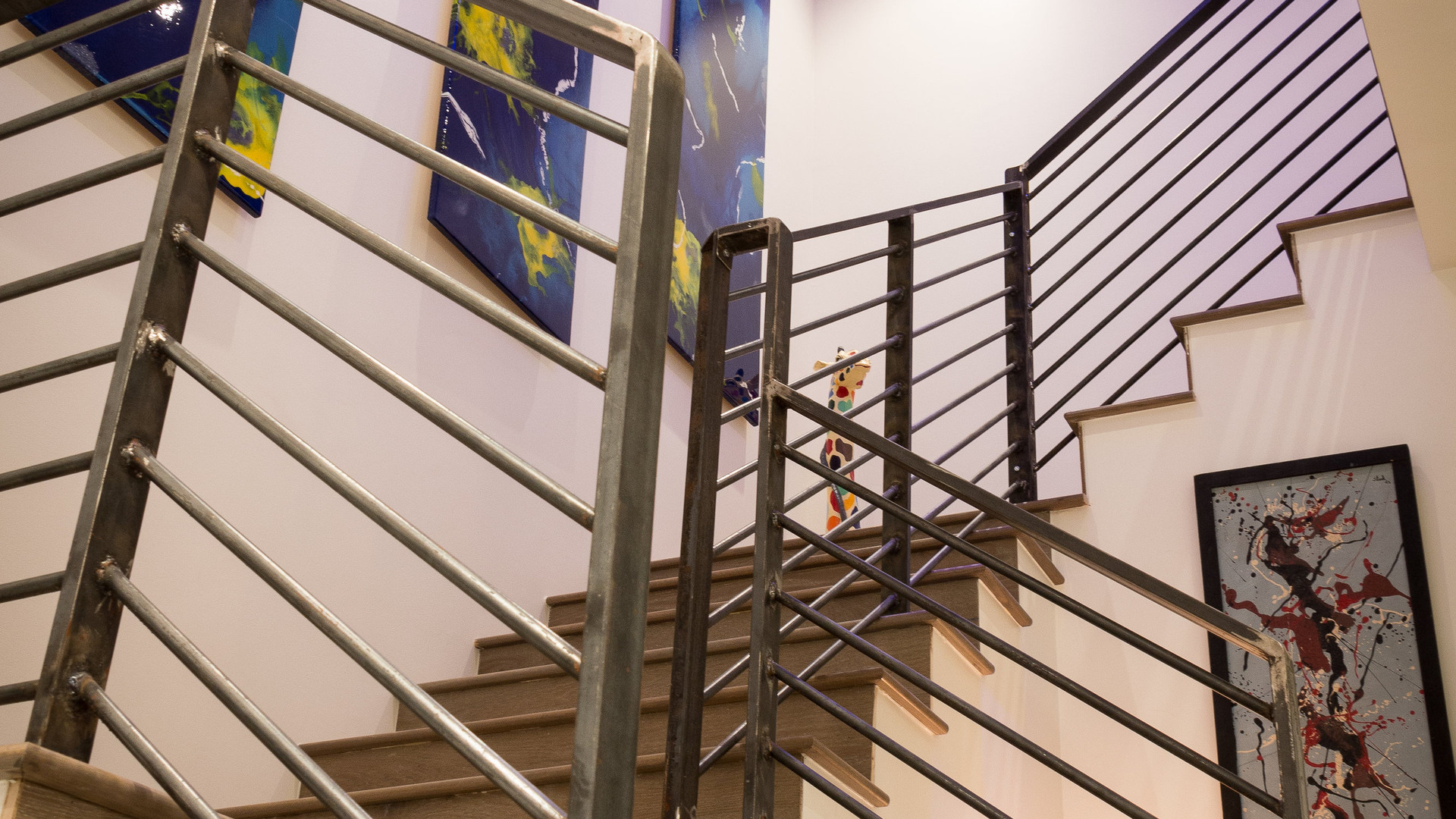Beautiful staircase with custom artwork