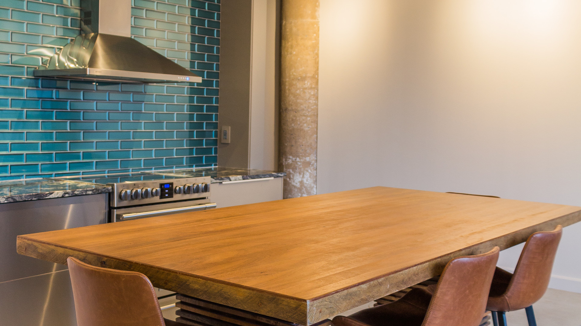 Custom table doubles as kitchen island