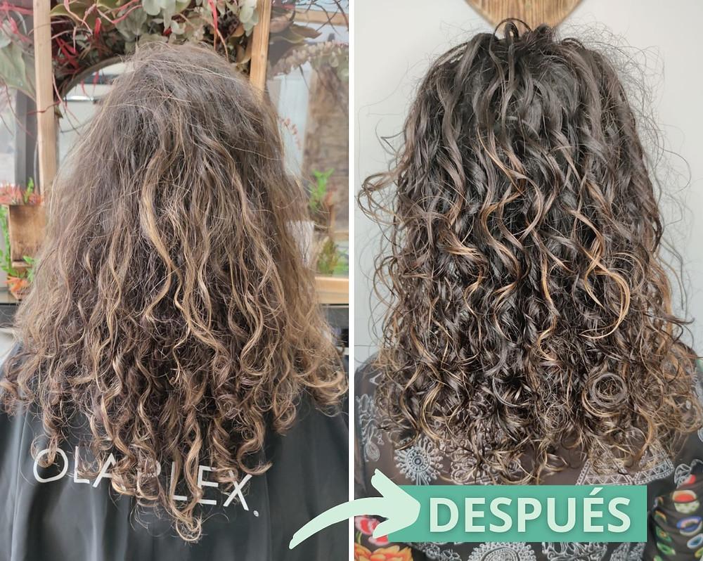 cabello rizado seco antes y después