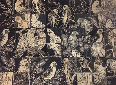 Day 2 of the Art Challenge is of two panels made up of offcut Linocuts on timber.jpg