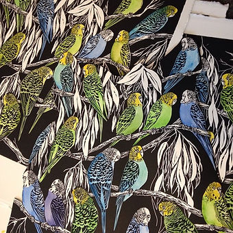 Starting some hand coloring #linocut #budgerigars #immerseart #publicart#watercolour