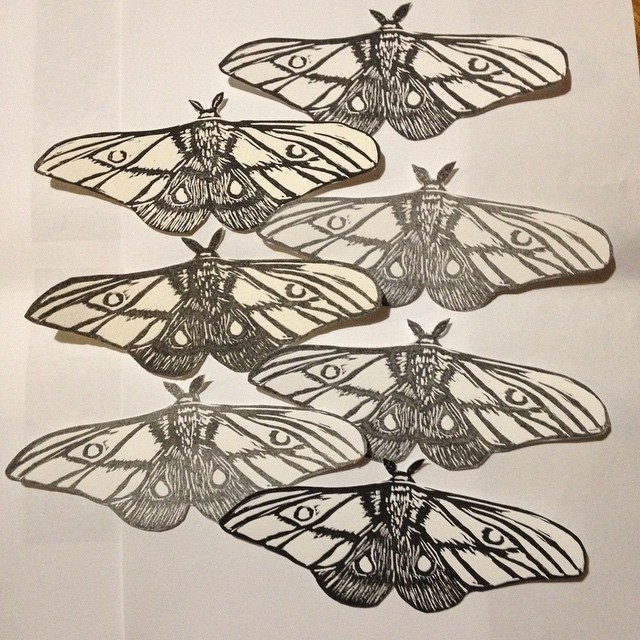 Emperor Gum Linocut moth prints for Hilary Lorenz's Moth Migration Project .jpg