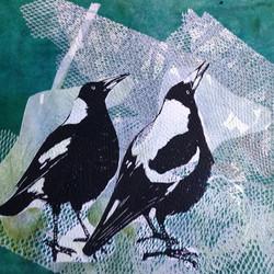 #Magpie #Linocut #monoprint #printmaking