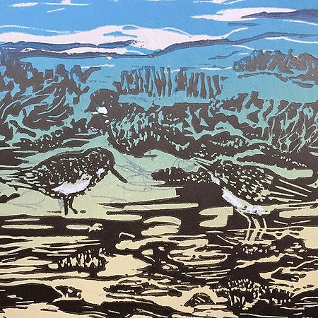 Final detail - a bit of white on the stints_karegorringesmith#overwintering #linocut#printmaking #st