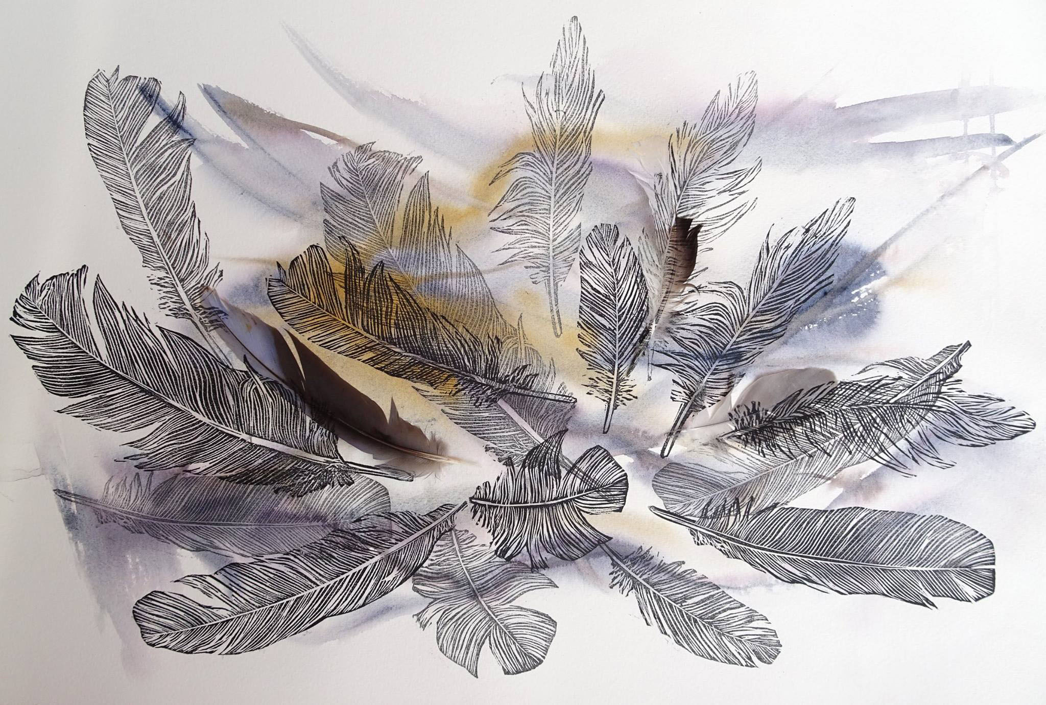 Linoprint Feathers and feathers on watercolour